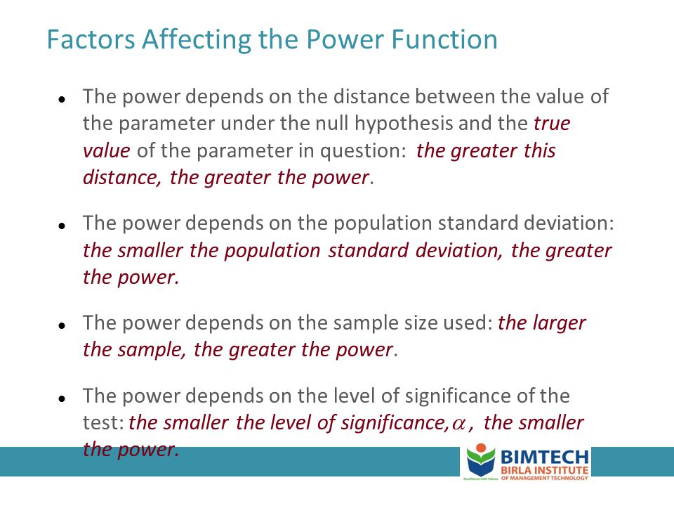 Factors Affecting the Power Function