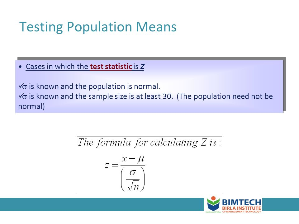 Testing Population Means