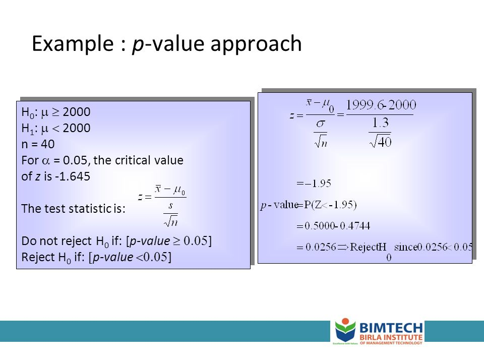Example : p-value approach