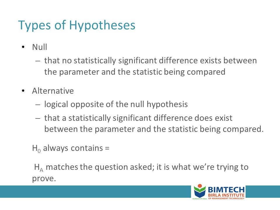 Types of Hypotheses Null