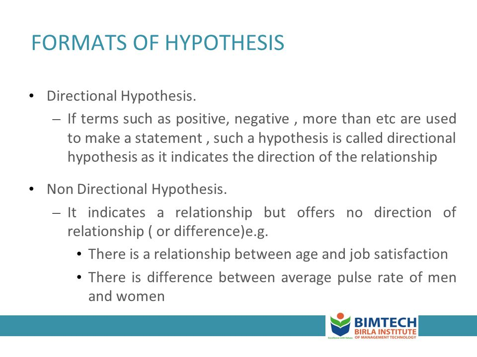 FORMATS OF HYPOTHESIS Directional Hypothesis.