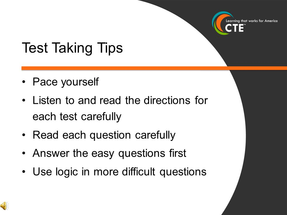 Test Taking Tips Pace yourself