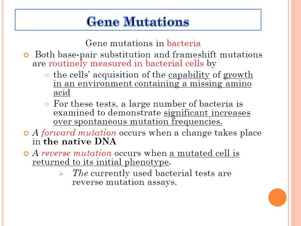 Gene mutations in bacteria