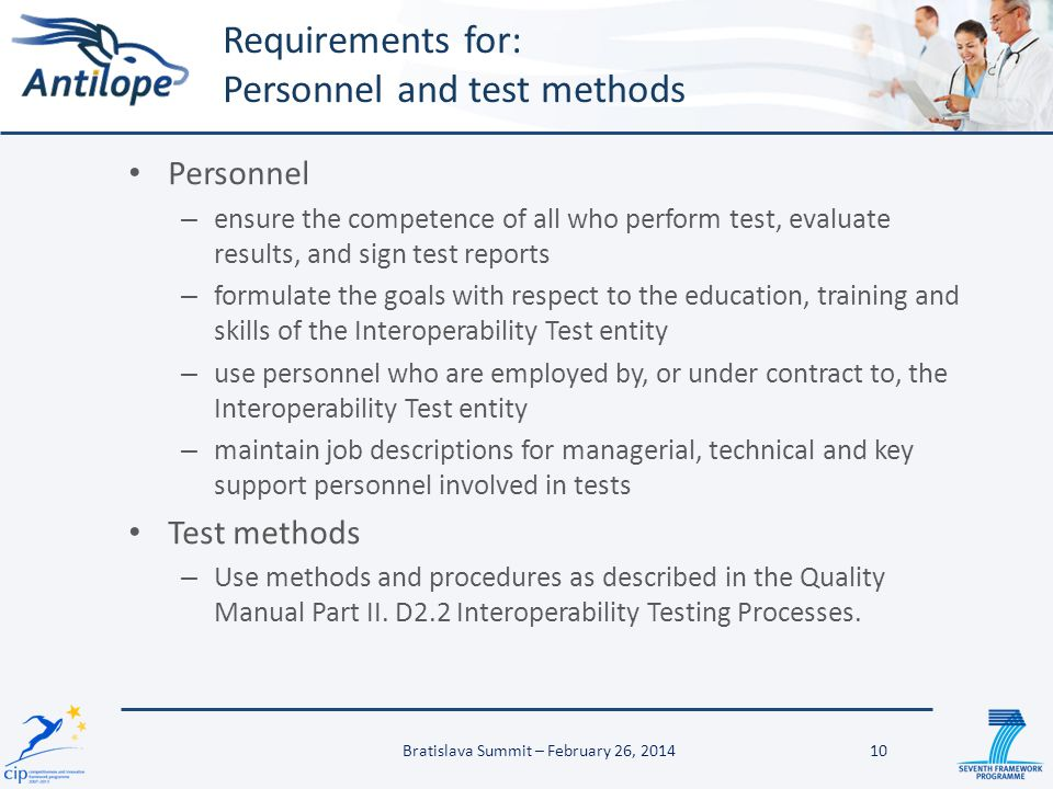 Requirements for: Personnel and test methods