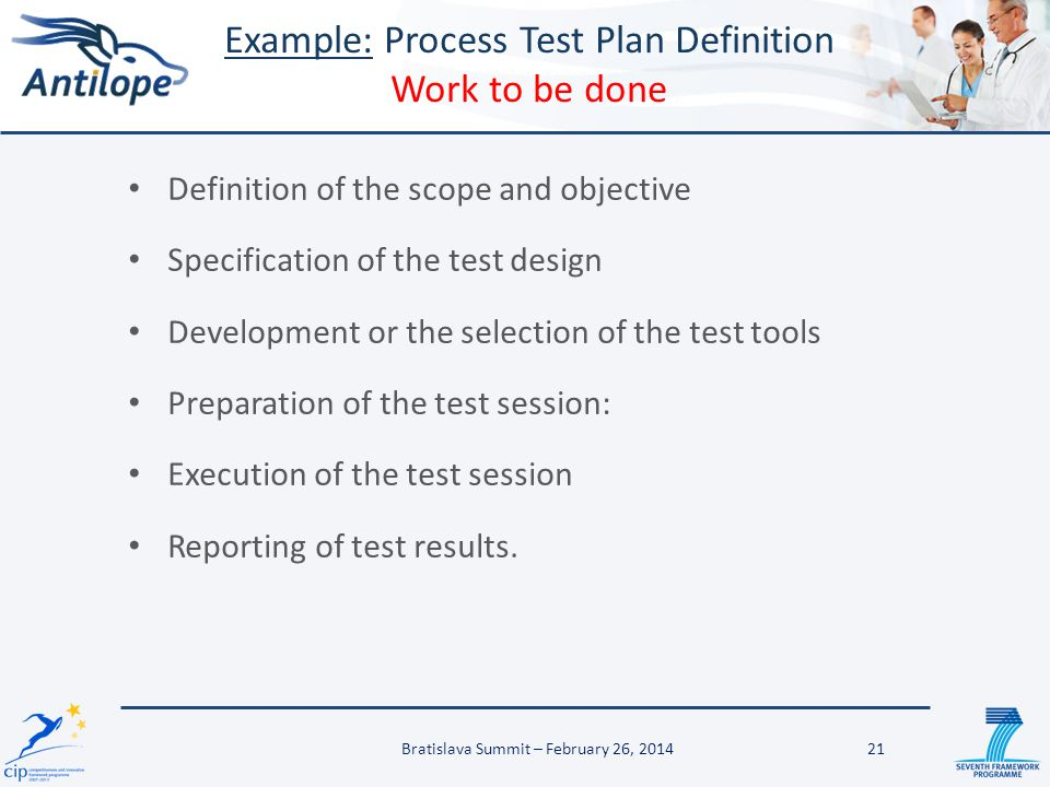 Example: Process Test Plan Definition Work to be done