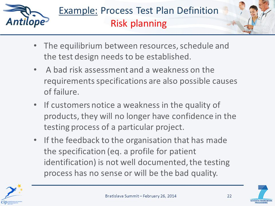 Example: Process Test Plan Definition Risk planning