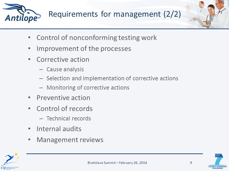 Requirements for management (2/2)