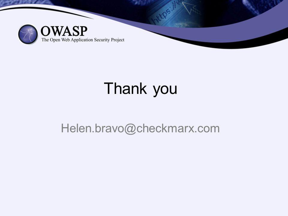 Thank you Helen.bravo@checkmarx.com