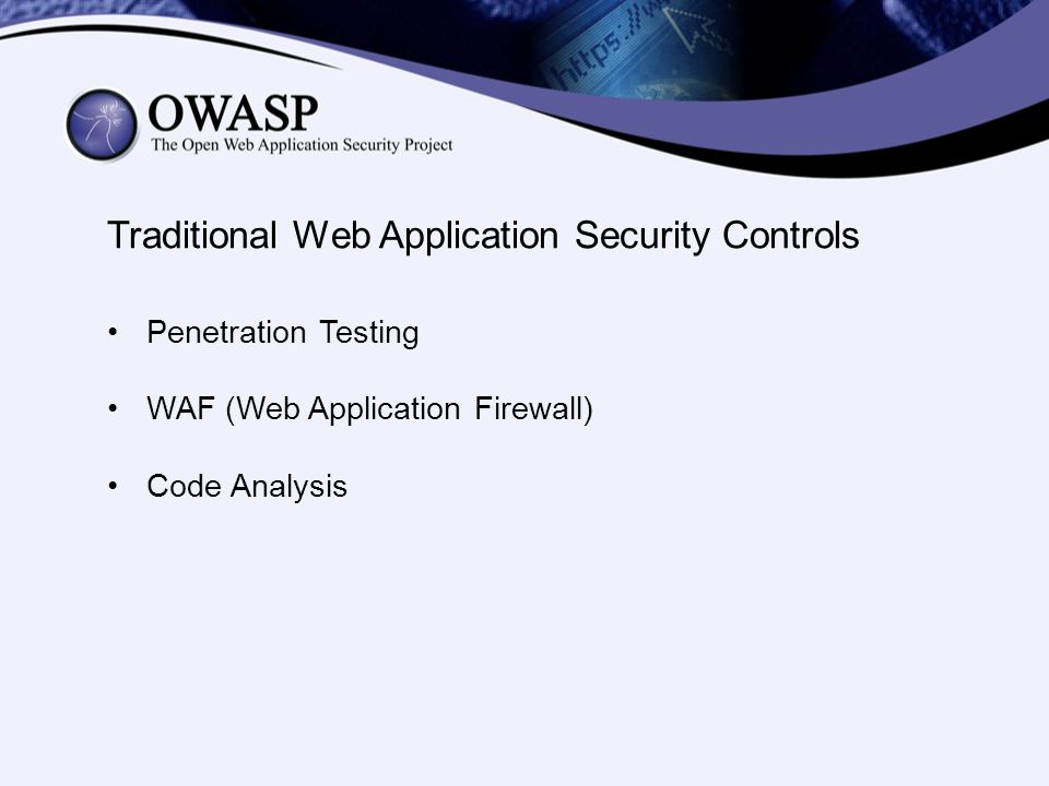 Traditional Web Application Security Controls