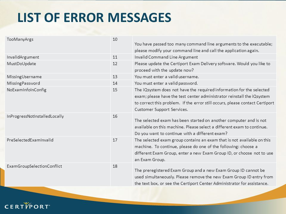 List of error messages TooManyArgs 10