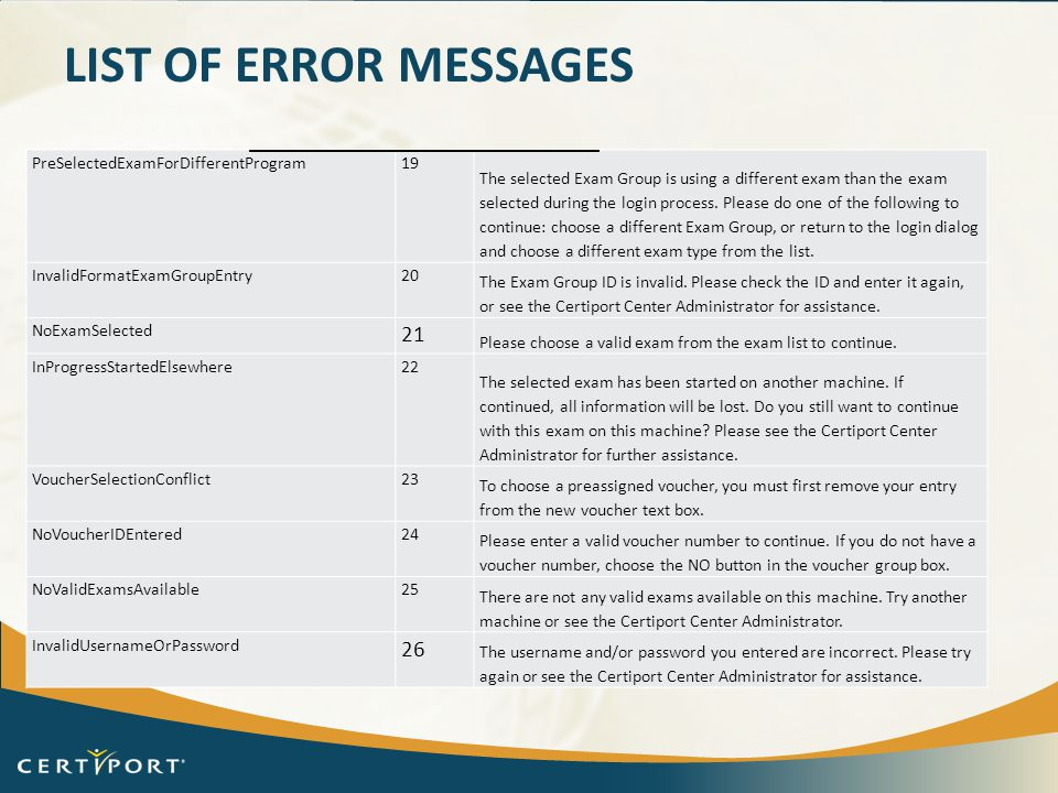 List of error messages PreSelectedExamForDifferentProgram 19