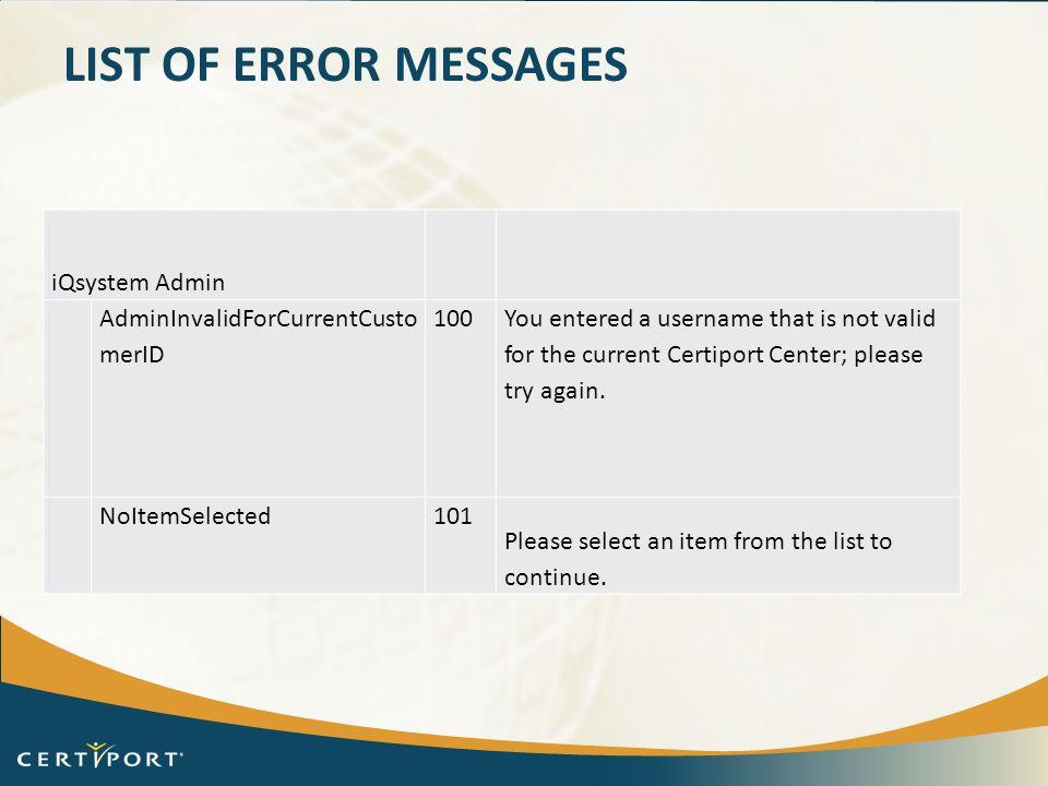 List of error messages iQsystem Admin