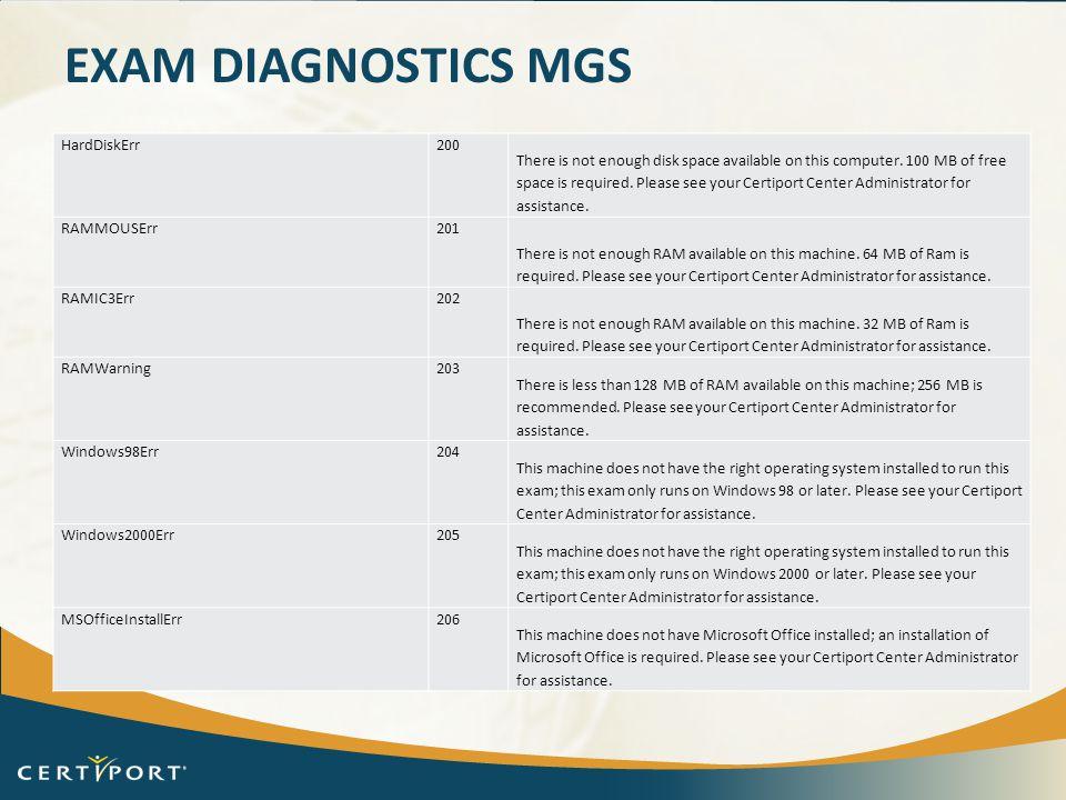 Exam Diagnostics Mgs HardDiskErr 200