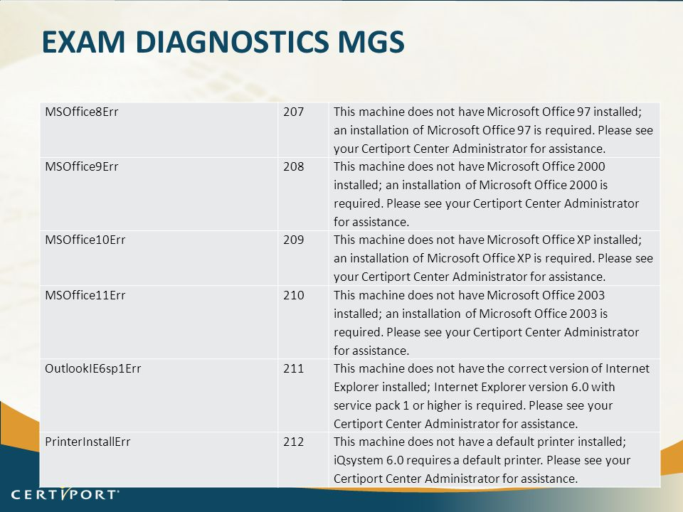 Exam Diagnostics Mgs MSOffice8Err 207
