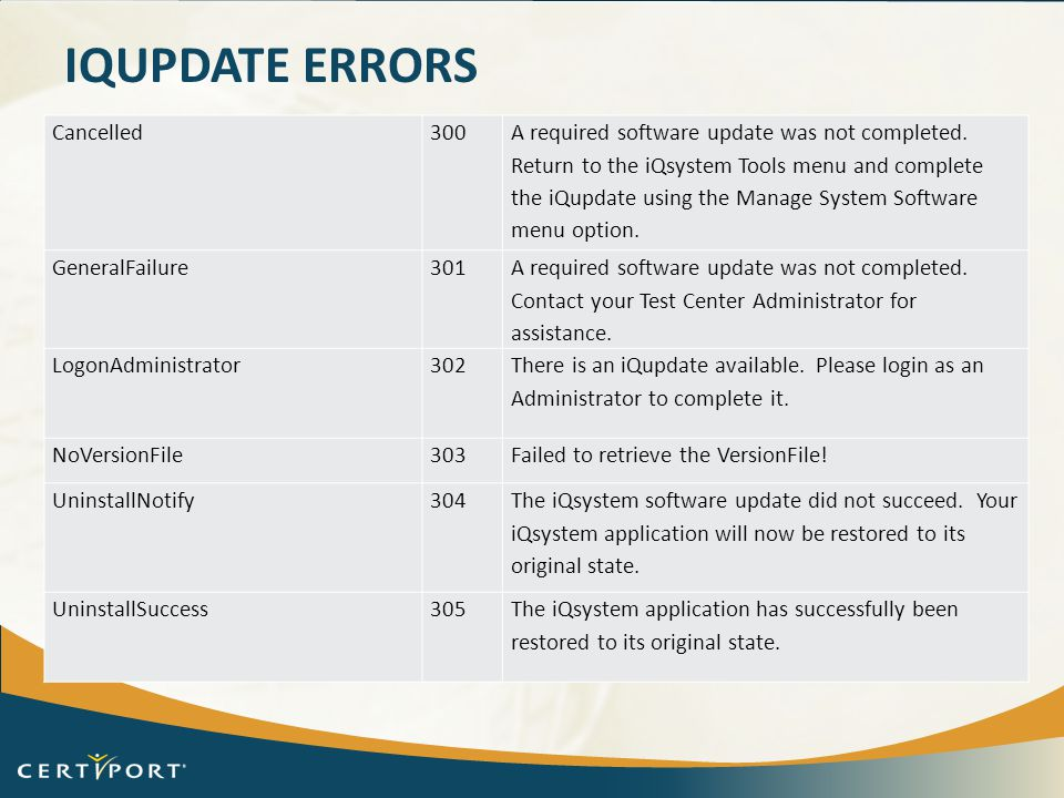 iQupdate Errors Cancelled 300