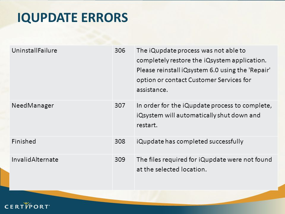iQupdate Errors UninstallFailure 306