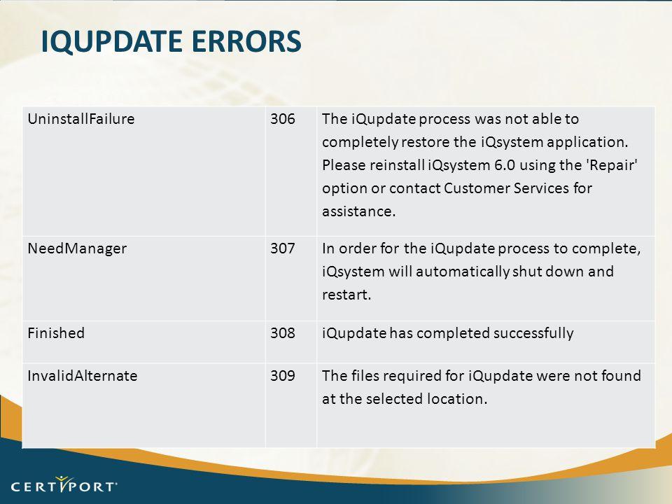 iQupdate Errors UninstallFailure 306