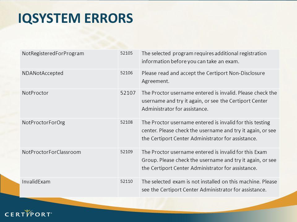 iQsystem Errors NotRegisteredForProgram