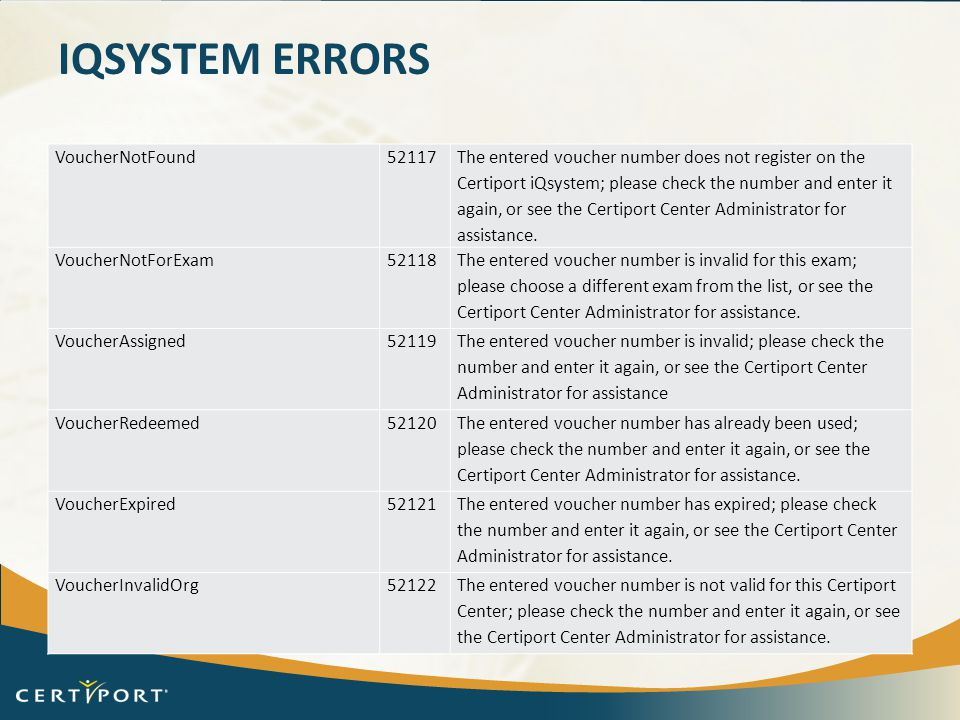 iQsystem Errors VoucherNotFound 52117
