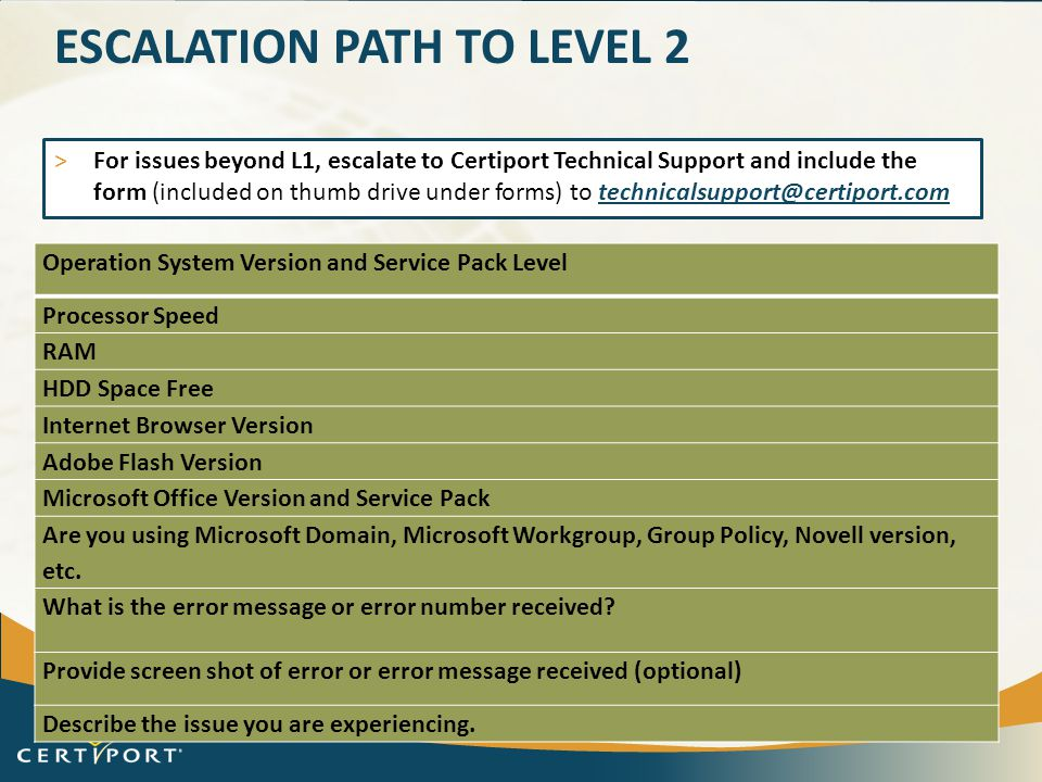 Escalation path to level 2