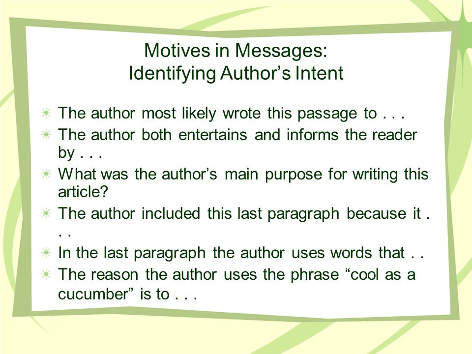 Motives in Messages: Identifying Author's Intent