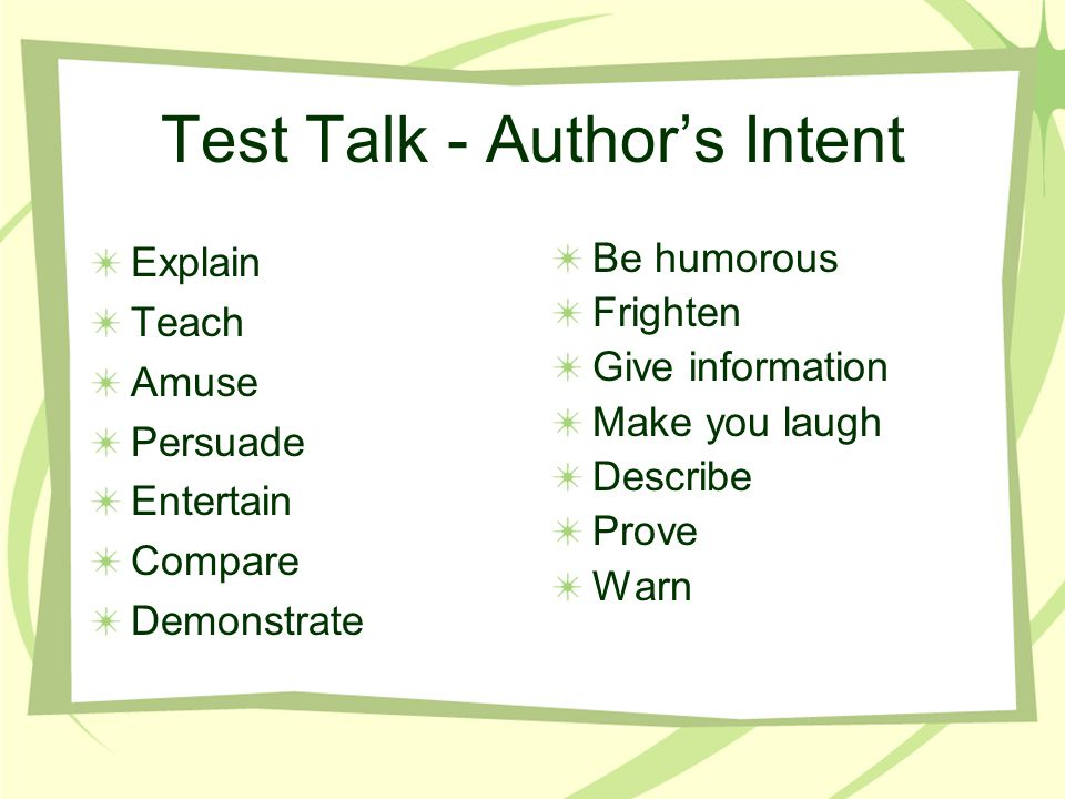 Test Talk - Author's Intent