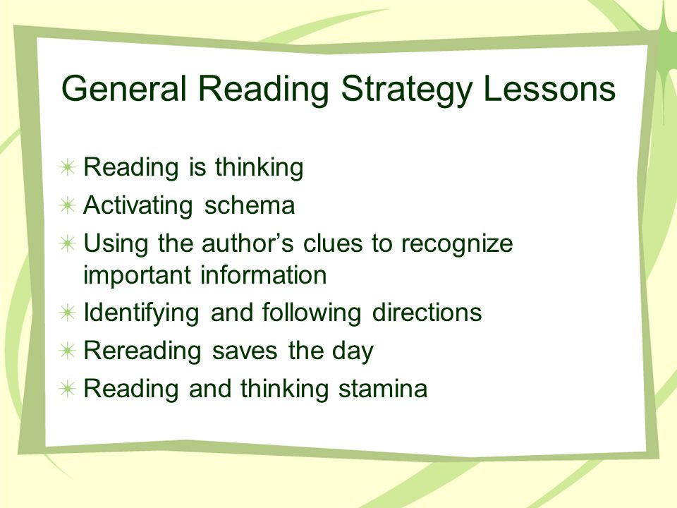 General Reading Strategy Lessons