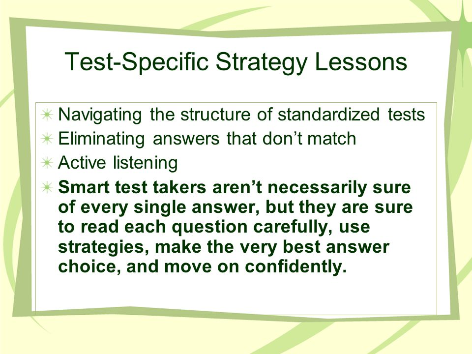 Test-Specific Strategy Lessons