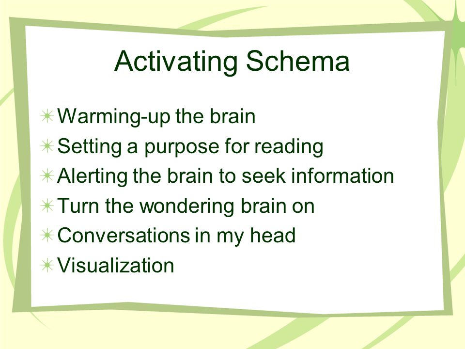 Activating Schema Warming-up the brain Setting a purpose for reading