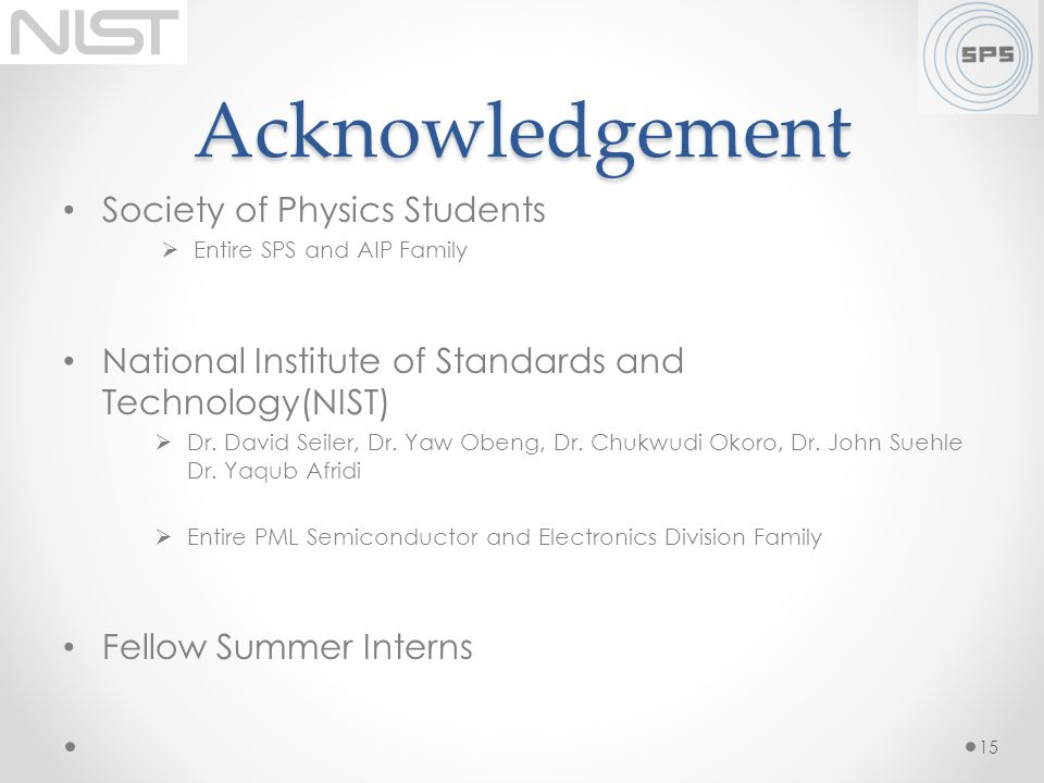 Acknowledgement Society of Physics Students