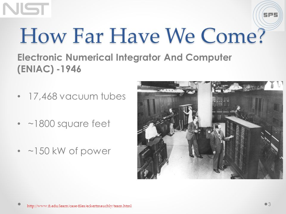 How Far Have We Come Electronic Numerical Integrator And Computer (ENIAC) -1946. 17,468 vacuum tubes.