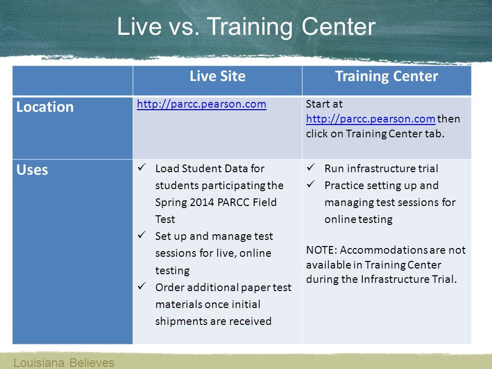 Live vs. Training Center
