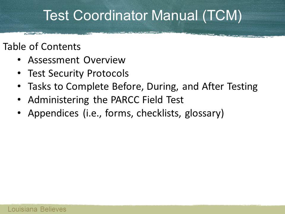 Test Coordinator Manual (TCM)