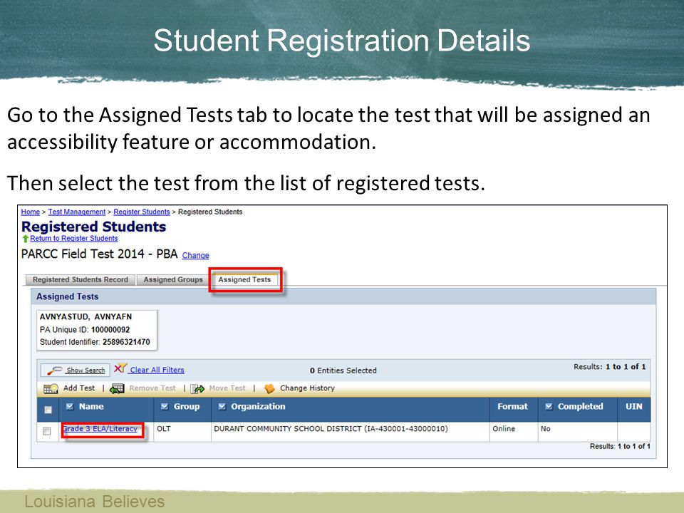 Student Registration Details