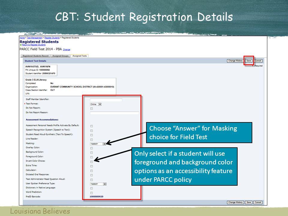 CBT: Student Registration Details