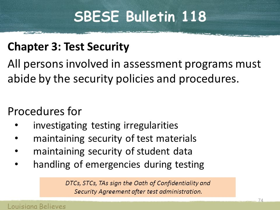 SBESE Bulletin 118 Chapter 3: Test Security