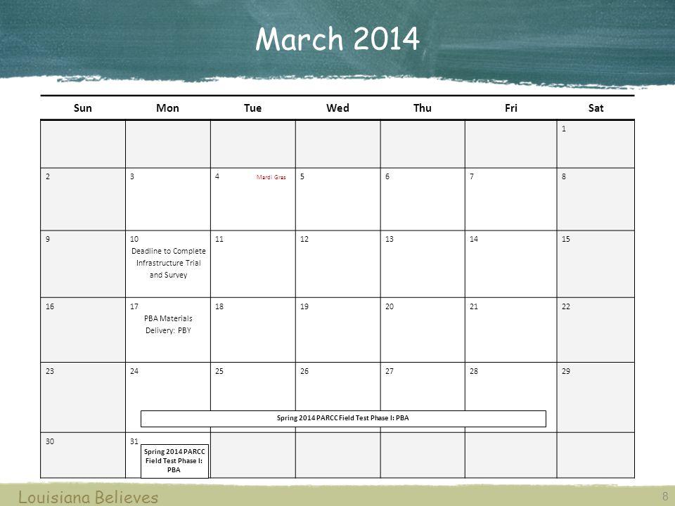 March 2014 Louisiana Believes Sun Mon Tue Wed Thu Fri Sat 1 2 3