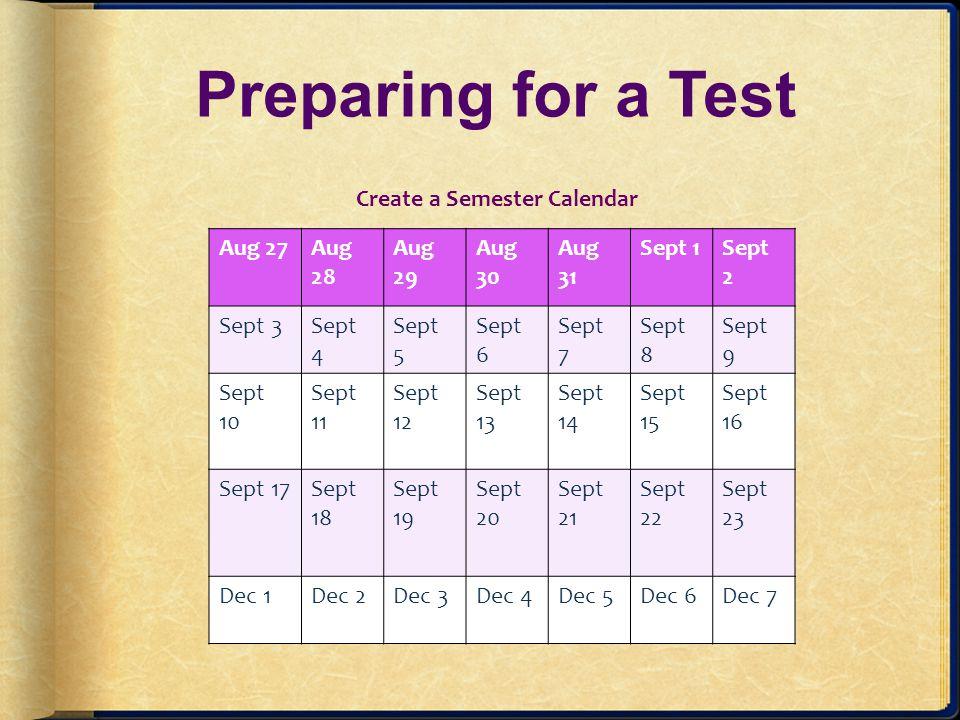 Create a Semester Calendar
