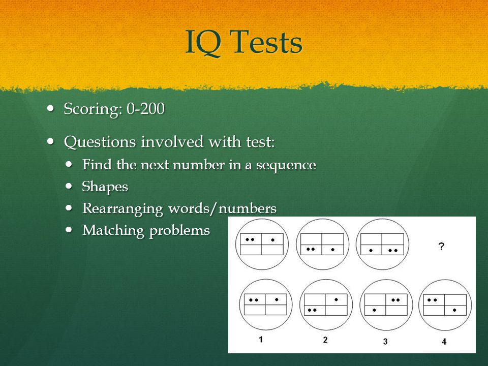 IQ Tests Scoring: Questions involved with test: