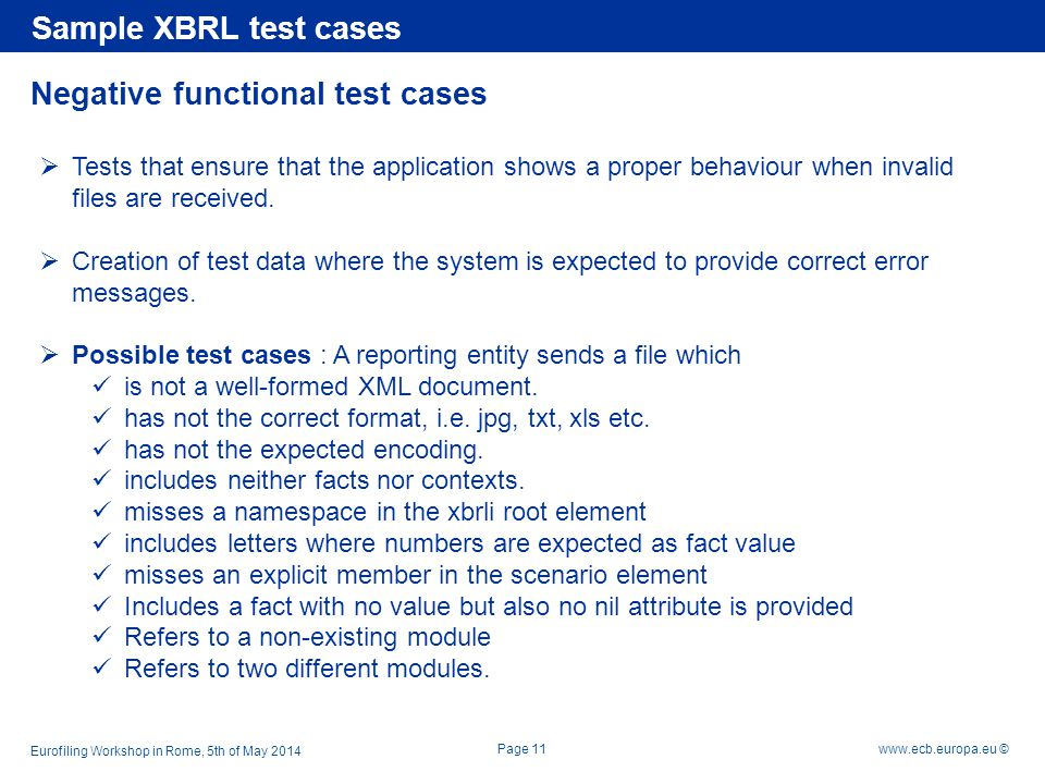 Negative functional test cases