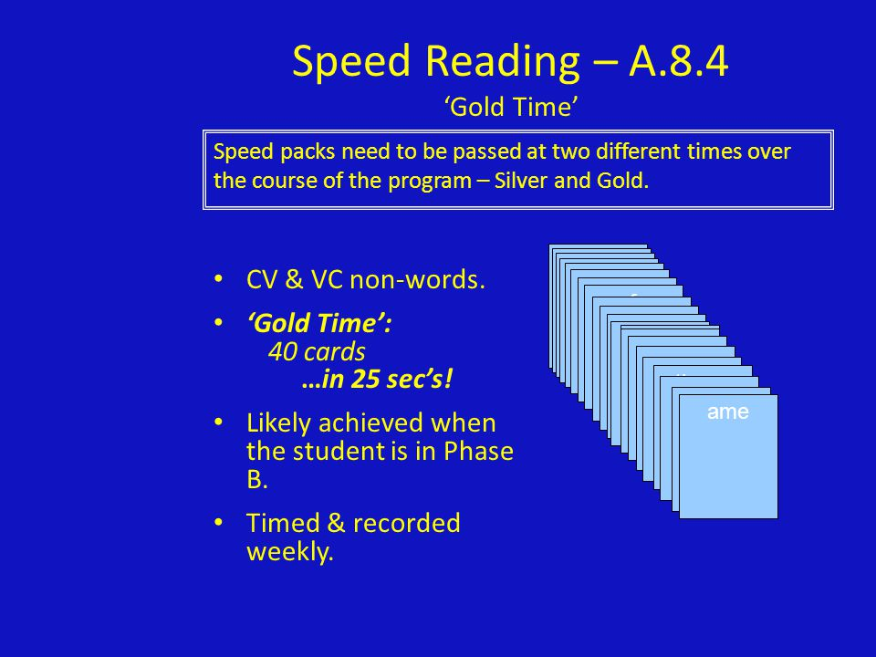 Speed Reading – A.8.4 'Gold Time'