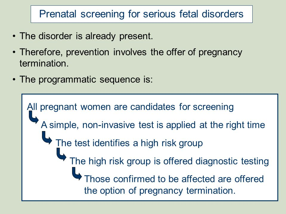 Prenatal screening for serious fetal disorders