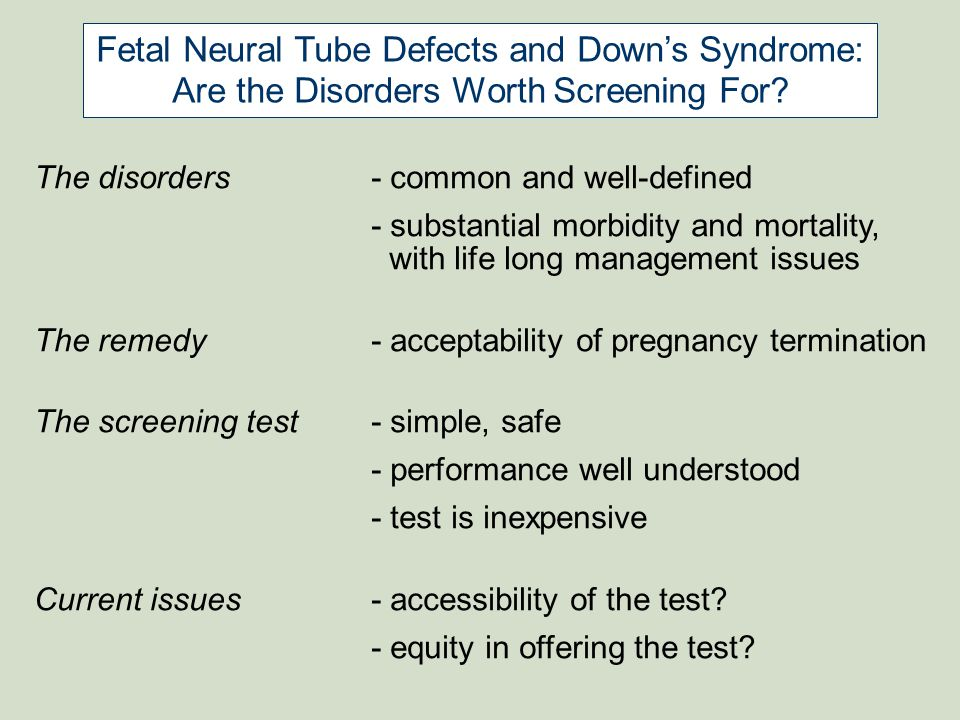 Fetal Neural Tube Defects and Down's Syndrome:
