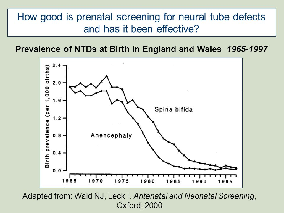 Prevalence of NTDs at Birth in England and Wales 1965-1997
