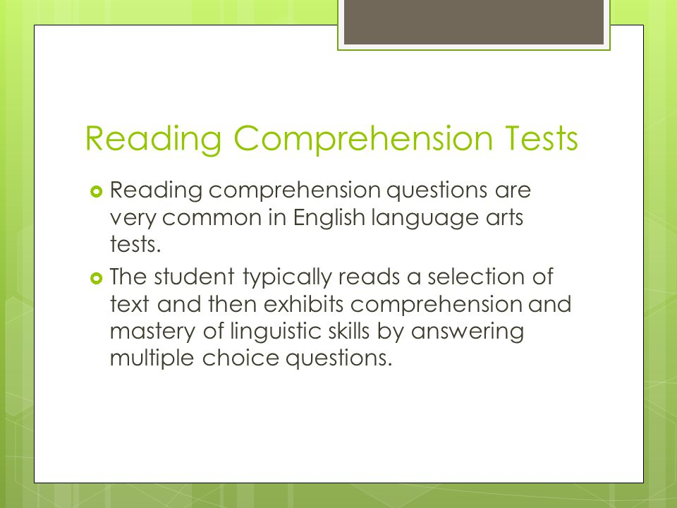 Reading Comprehension Tests