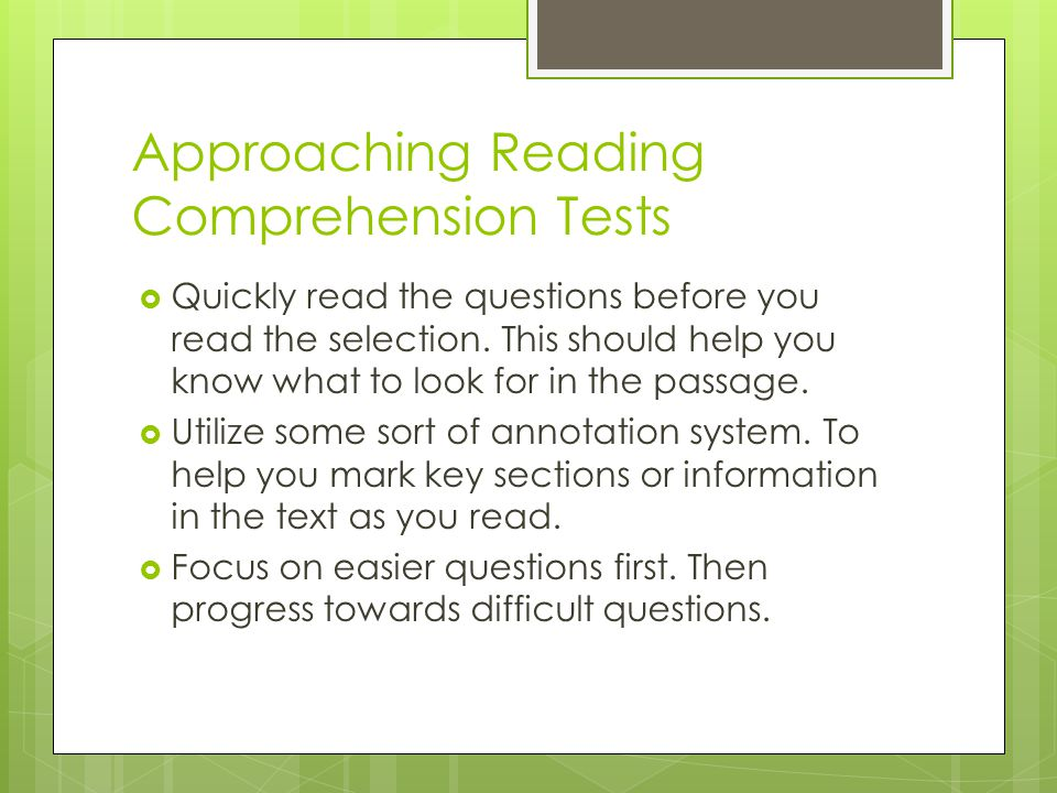Approaching Reading Comprehension Tests