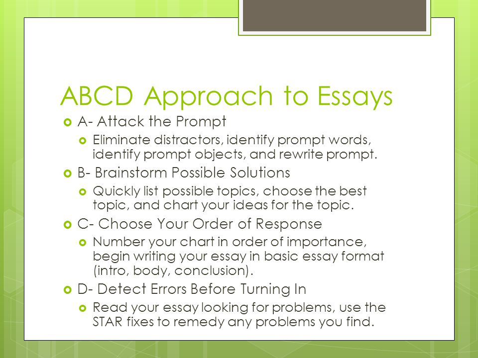 ABCD Approach to Essays