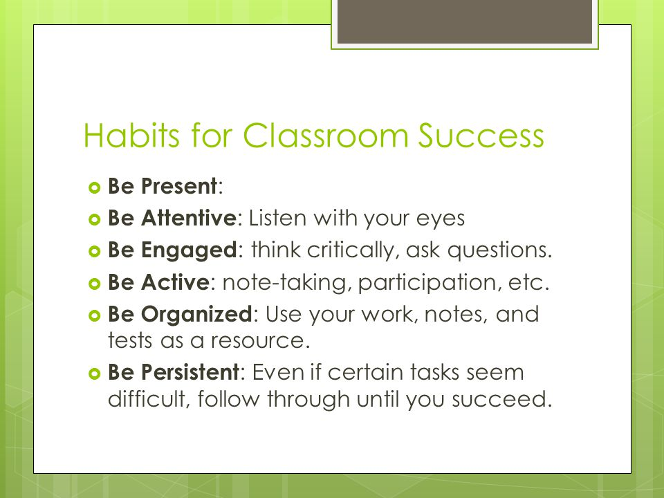 Habits for Classroom Success