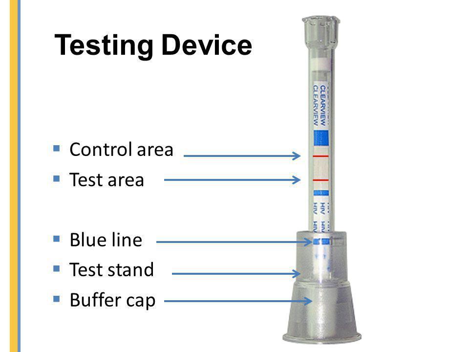 Testing Device Control area Test area Blue line Test stand Buffer cap