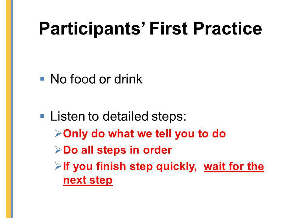 Participants' First Practice